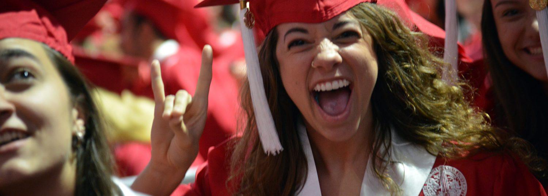 Graduate enters Commencement.