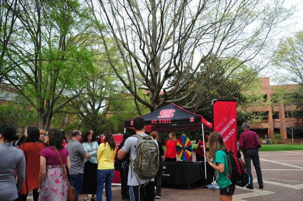 Students line up to participate in OIT's Earth Day activities